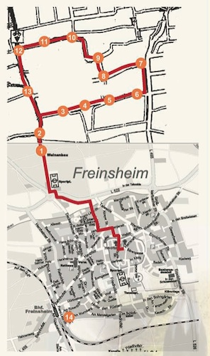 Rotweinwanderung Tour mit Stationen © Stadt Freinsheim