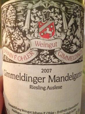 2007 Gimmeldinger Mandelgarten Riesling Auslese, Johann F Ohler