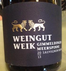 2013 Weik Sauvignon Blanc Gimmeldinger Meerspinne