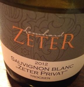 """2012 Sauvignon Blanc """"Zeter Privat"""", Leonhard Zeter"""
