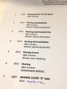 Weinliste Marius Meyer
