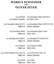 Markus Schneider trifft Oliver Zeter, Weinliste
